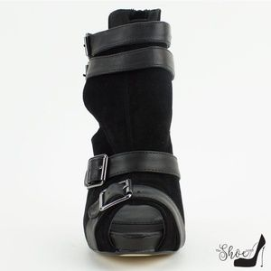 The Shoe Loft Shoes - Spy Black Peep Toe Cut Out Heels